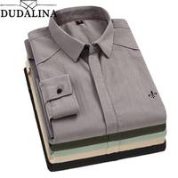 Dudalina New 2019 Autumn Spring Mens Casual Shirts Long Sleeve 100% Cotton Dress Shirt Men Retro Style Camiseta Masculina