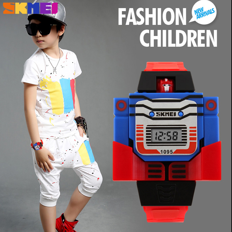 2018 New Children Watch Creative Cartoon Robot Transformation Toys LED Digital Clock Kids Watches Boys Girls Child Watches Wrist