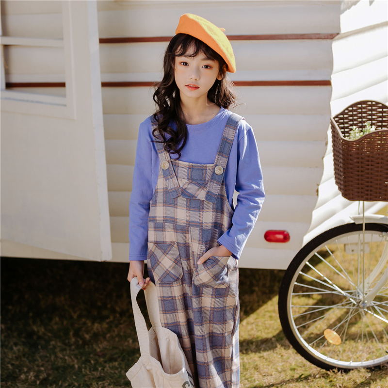 Kids Girls Long Sleeve Round Collar Blue T-shirt and Belt Trousers Set Spring Children Cotton Clothes Girls Plaid Pants SuitsKids Girls Long Sleeve Round Collar Blue T-shirt and Belt Trousers Set Spring Children Cotton Clothes Girls Plaid Pants Suits