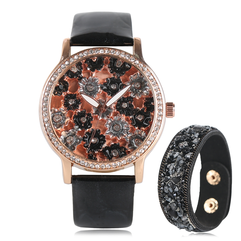 Women Watches with Bracelet Gifts Watch Ladies Beautiful Flower Quartz Wristwatches Female Clock Montre Femme Relogio Feminino free shipping kezzi women s ladies watch k840 quartz analog ceramic dress wristwatches gifts bracelet casual waterproof relogio