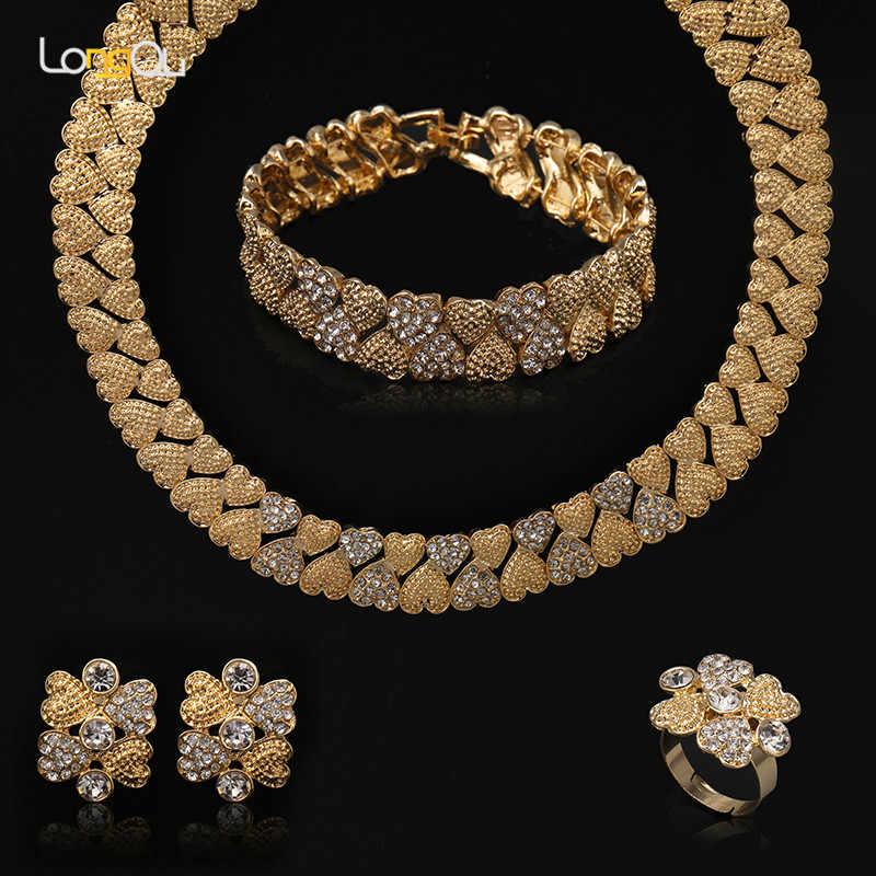 Braut Geschenk Nigerian Hochzeit schmuck set 2018 mode Dubai generation kristall halskette set Afrikanische perlen schmuck-set für frauen