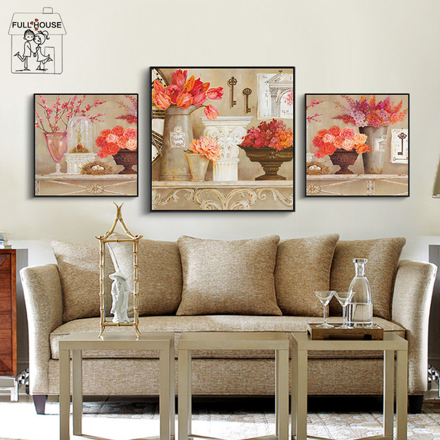 FULL HOUSE Nordic Style Home Decor Flowers Wall Pictures For Living Room Canvas Art Painting Print