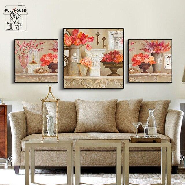 US $4.47 53% di SCONTO|Full house stile nordico complementi arredo casa  fiori immagini a parete per Soggiorno Tela Pittura di Arte Stampa Poster Da  ...