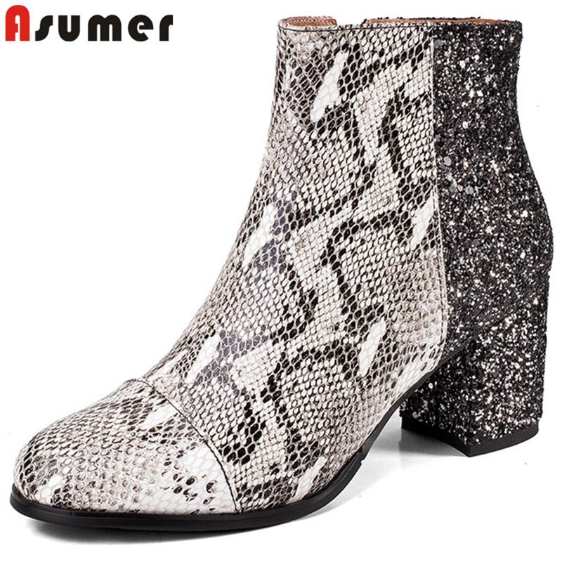 ASUMER 2018 fashion autumn winter boots round teo zip ankle boots for women square heels mixed colors genuine leather boots asumer black fashion 2018 autumn winter boots women round toe zip mixed colors ankle boots flat with suede leather boots