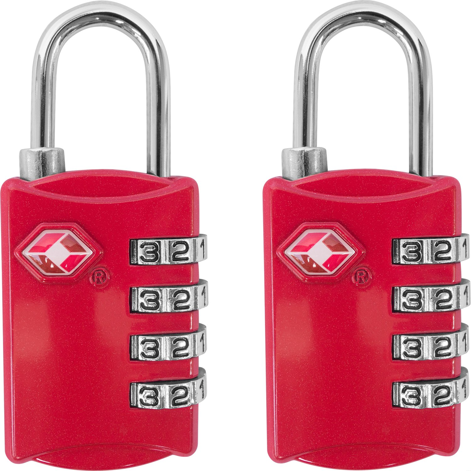 TSA Luggage Locks (2 Pack) - 4 Digit Combination Steel Padlocks - Approved Travel Lock for Suitcases & Baggage - RedTSA Luggage Locks (2 Pack) - 4 Digit Combination Steel Padlocks - Approved Travel Lock for Suitcases & Baggage - Red
