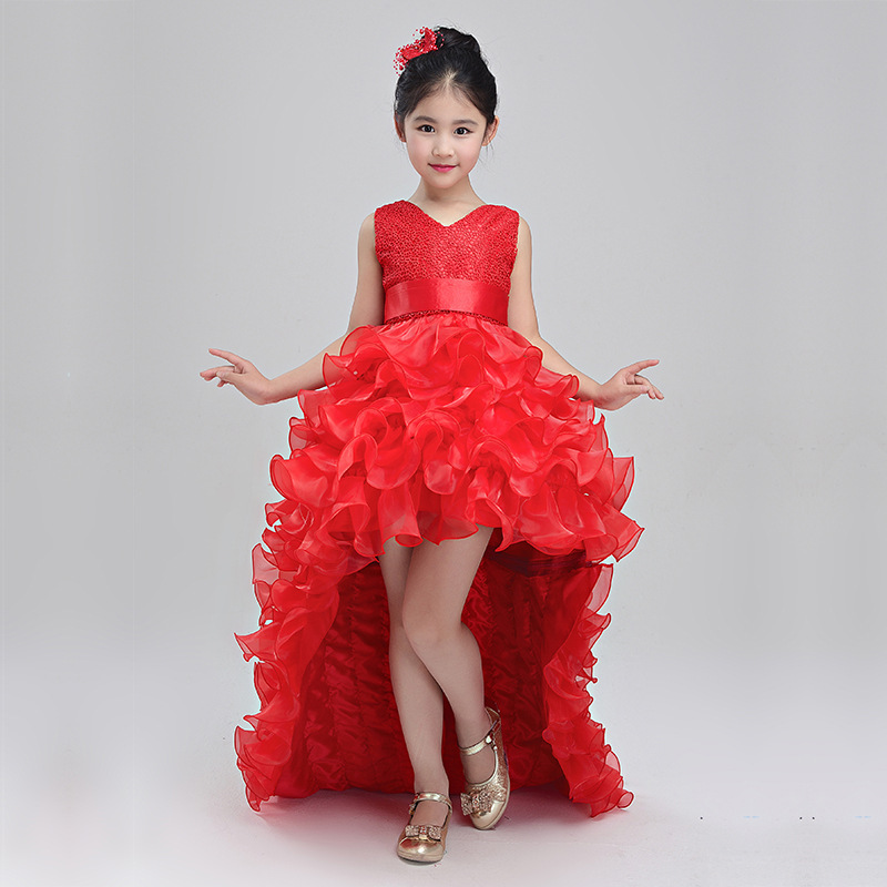2018 New Kids Girl Party Princess Dress Children Girl Trailing Ball Gown Birthday Dresses With Bow knot baby Wedding Dress H01