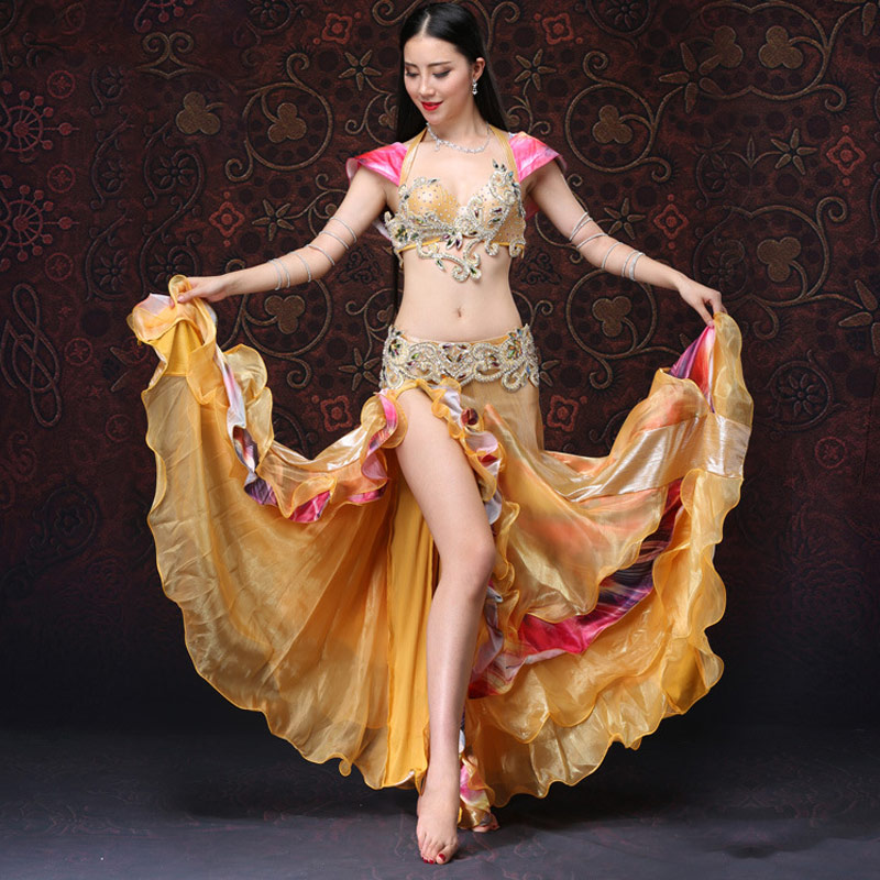 Women Bra with Skirt Belly Dance Suit Faux Diamond Decor Backless Dancing Performance Set -MX8