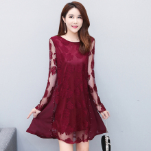 Black Dress New 2019 Women Hollow Out half sleeve Sexy hollow out  Dress Elegant transparent Floral Pattern Lace Dresses 155A3 floral nine points sleeve hollow lace dress