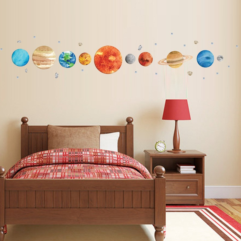Nine Planets wall sticker cartoon for kids room decoration home living pvc wall decor diy mural sticker in Wall Stickers from Home Garden