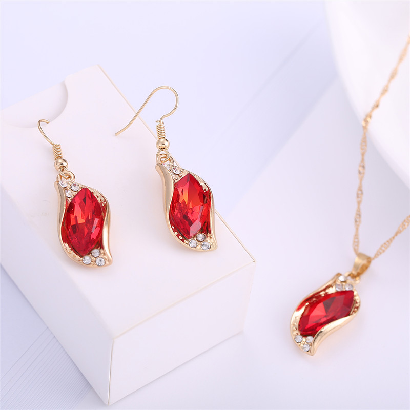 ORNAPEADIA Brand 2018 New design AAA luxury zircon Lady elegant necklace earrings set High quality classic jewelery set gift in Jewelry Sets from Jewelry Accessories