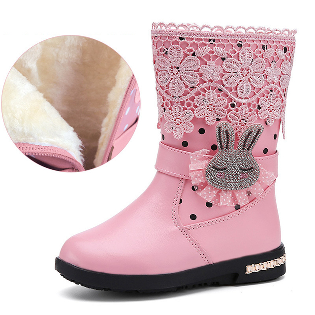 740fc5fbba4e Animal Rhinestones Girls Snow Boots Girls Warm Boots With Fur Black Pink  Red Girls Winter Boots Winter Shoes for Kids boots