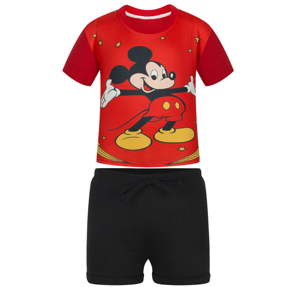 BRWCF Kids Suit For Boys And Girls Fashion Red Cartoon T-shirt And Pure Color Casual Shorts For Summer Children clothes 2-8 Y family fashion summer tops 2015 clothers short sleeve t shirt stripe navy style shirt clothes for mother dad and children