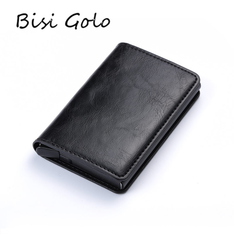 BISI GORO 2018 Business Credit Card Holder Men And Women Metal RFID Vintage Aluminium Box Crazy Horse Leather Travel Card Wallet