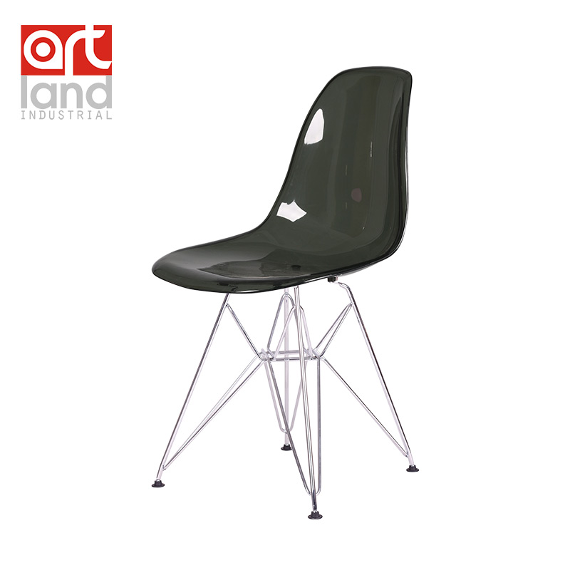 Plastic side chair wire base transparent seat shell dining for Cheap side chairs