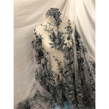 Beautiful flower embroidery tulle lace fabric French net lace fabric for evening dress HNZ181(5yards/lot)