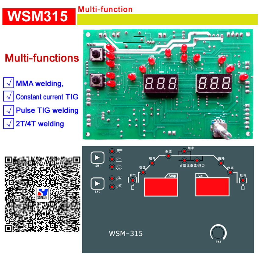 WSM 315 multi-function control  card for  IGBT  2T/4T/ Pluse / TIG / MMA  welding machineWSM 315 multi-function control  card for  IGBT  2T/4T/ Pluse / TIG / MMA  welding machine