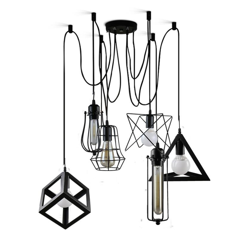 Vintage pendant lights 6 heads black metal iron cage lampholder LOFT indoor lamp lighting coffee bars light fixture  цены