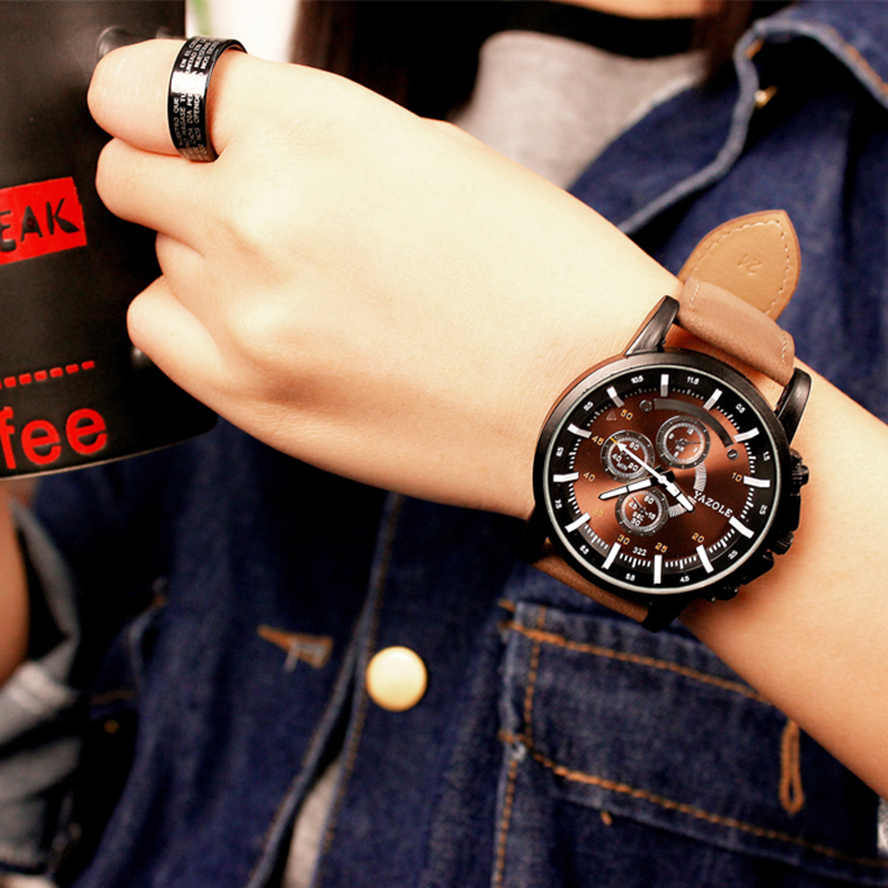 2018 Yazole Luminous Men Watch Luxury Top Brand Business Male Clock Quartz-wristwatch Leisure Leather Quartz Watch Relogios 1