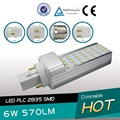 10pcs/lot E27 G24 G23 6W LED PL lamp 35 leds SMD2835 G24 2PIN 4PIN  PLC lamp E27 PL bulb free shipping
