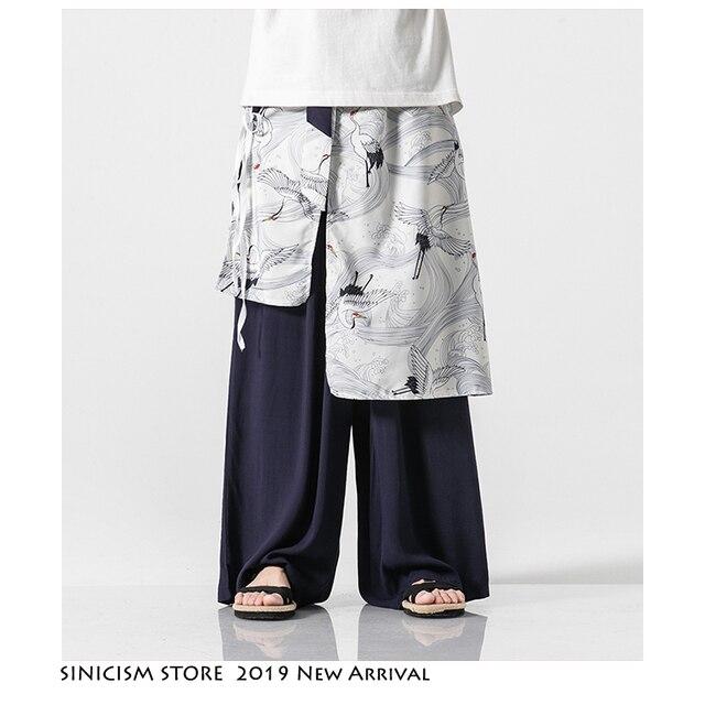 Sinicism Store Patchwork Flower Cotton Pants Mens Summer 2020 Chinese Style Loose Pants Male Wide Leg Pants Baggy Pants 14