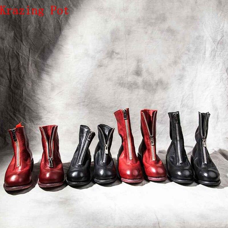 Krazing Pot full grain leather med heels round toe motorcycle boots zipper decoration modern superstar luxury