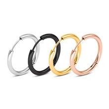 2 PCS Fashion Small Circle Earrings, Hoop Minimalist Stainless Steel Men Ear Piercing Bijoux Jewelry