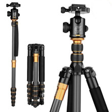 Cheapest prices Q666C Carbon Fiber Tripod  Camera Portable Traveling Tripod For Camera Ball Head  Monopod Digital Camera Tripod