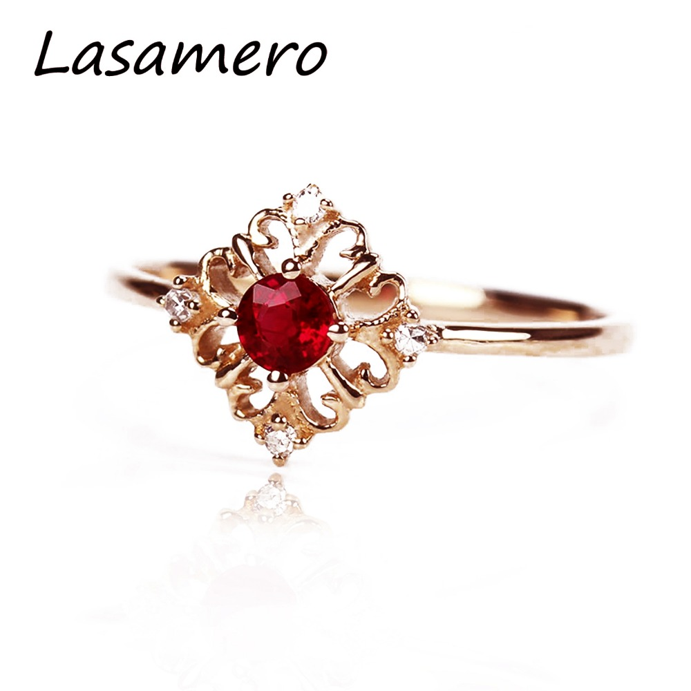 LASAMERO кольца для Для женщин 0.18ct круглый вырезанный Рубин Кольца с алмазами, розовое золото 18 карат, прекрасный Обручение обручальные кольца