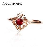 LASAMERO Rings for Women 0.18ct Round Cut Ruby Diamond Rings 18K Rose Gold Engagement Wedding Rings
