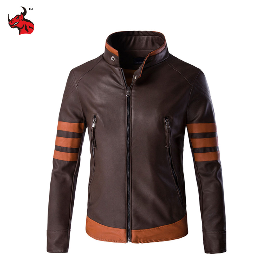 Motorcycle Jackets Men Vintage Retro PU Leather Jacket Punk Windproof Biker Classical Faux Leather Slim Moto Jacket oblique zipper faux leather biker jacket