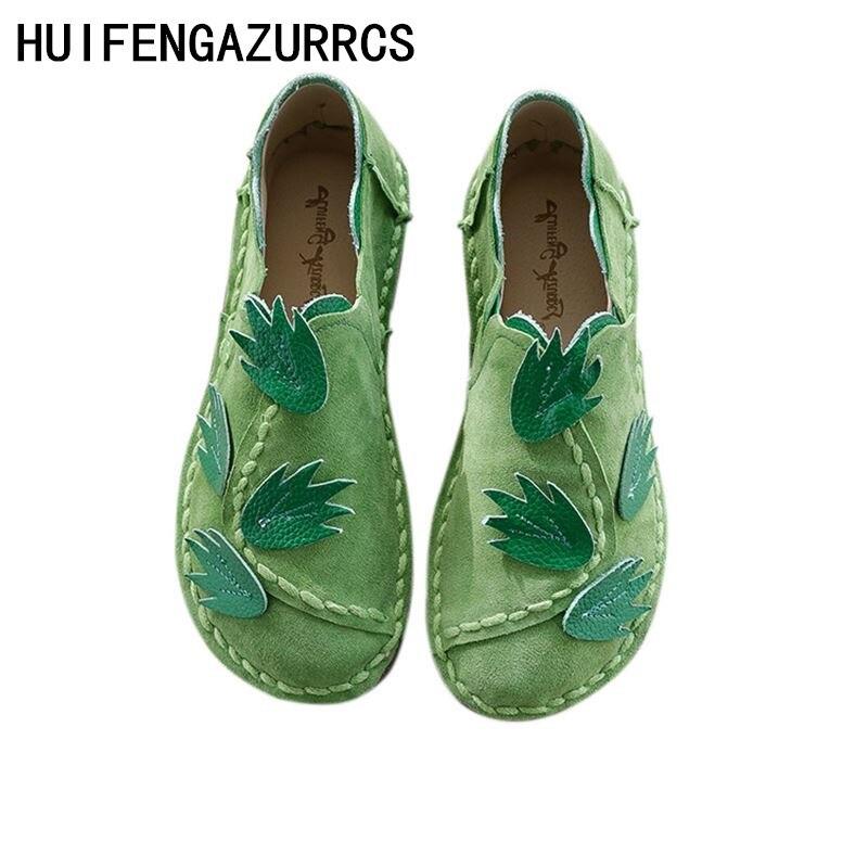 HUIFENGAZURRCS National wind handmade Genuine leather shoes literary and artistic women shoes flat bottom leisure single