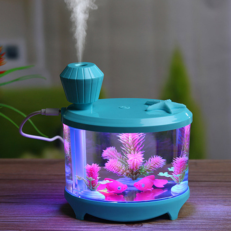 Beautiful Fishtank Humidifier 460ml Large Capacity USB Diffuser Home Office Desktop Colorful Soft Night Light Air Humidifier