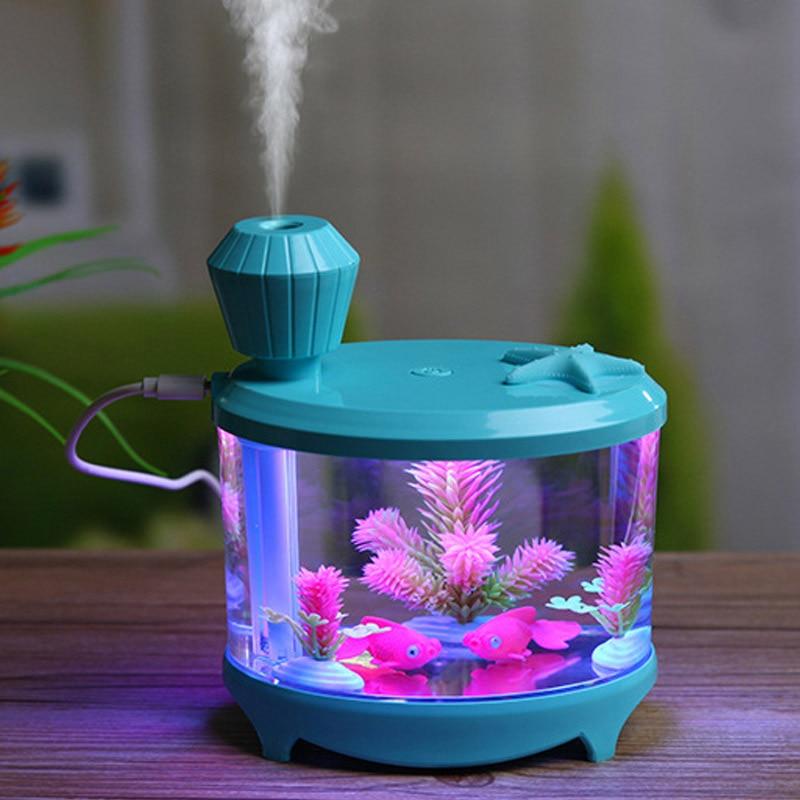 Beautiful Fishtank Humidifier 460ml Large Capacity USB Diffuser Home Office Desktop Colorful Soft Night Light Air Humidifier