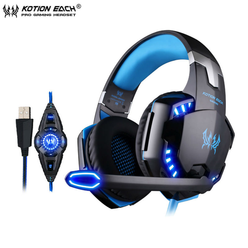 KOTION EACH G2200 USB 7.1 Surround Sound Vibration Game Gaming Headphone Computer Headset Earphone Headband with Mic LED for PC original somic p7 headphones headband vibration game headphone 7 1 sound bass hifi folding gaming headset mobile pc earphone
