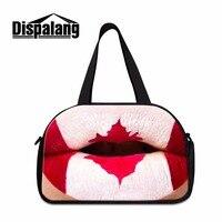 Dispalang Canada Spanish Flag Pattern Travel Bags for Women Large Capacity Shoulder Duffle Bags 3D Printed Luggage garment bag