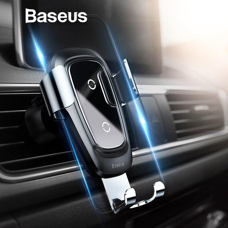 Baseus Qi cargador inalámbrico soporte para coche para iPhone XS XR Samsung soporte para teléfono móvil de montaje de ventilación de aire la gravedad de coche soporte de teléfono