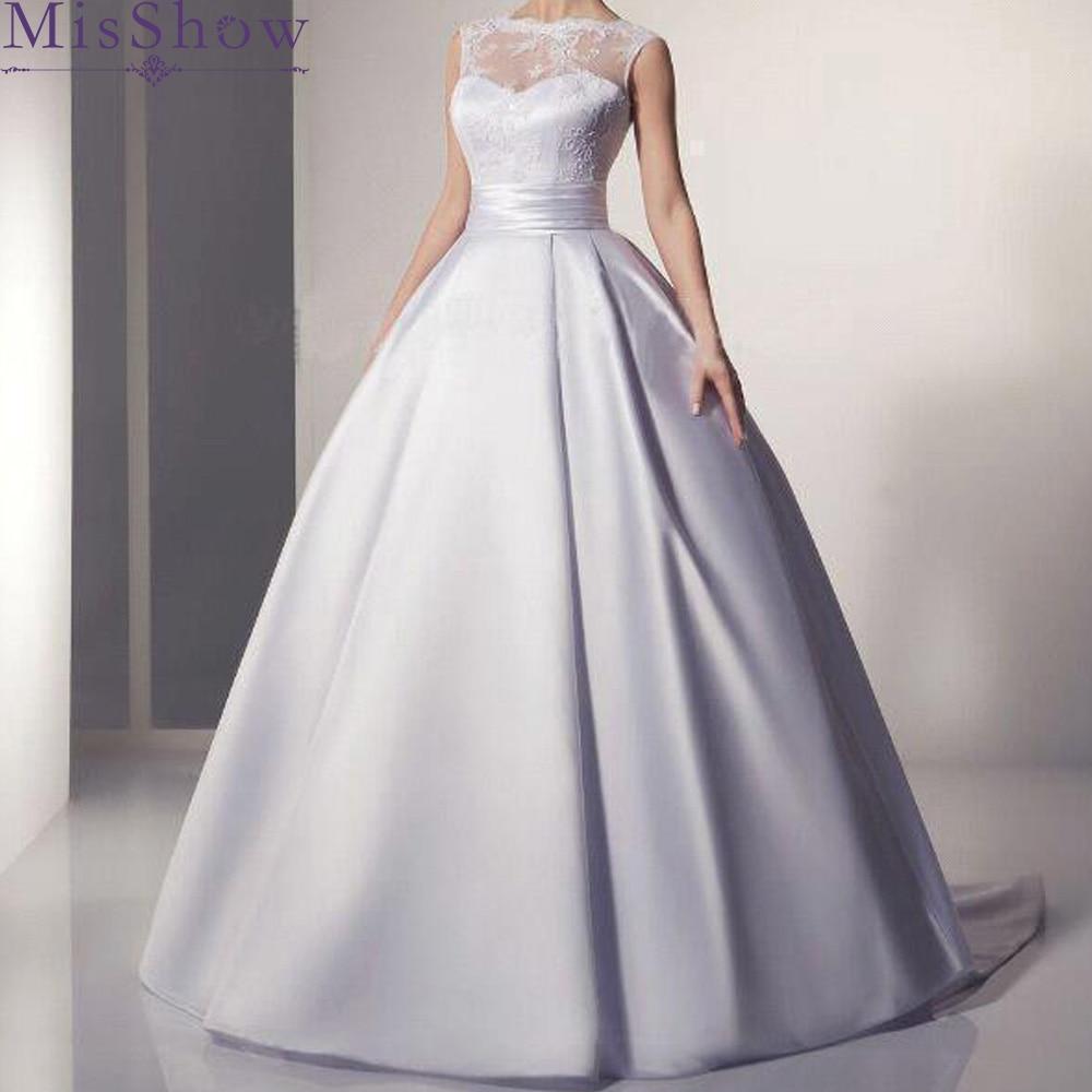 Cheap Plus size wedding dress 2019 Vestido De Novia Longo Bridal Dresses Satin with Lace Robe