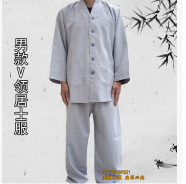 Shaolin Temple costume Zen Buddhist Robe Lay Monk Meditation Gown Kung fu Training Uniform Monk clothes Suit