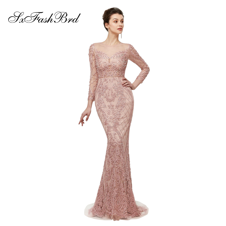 Formal Dresses In Memphis Tn: Robe Longue O Neck Long Sleeves Mermaid Accented Heavy