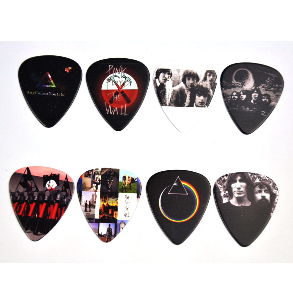 Lots of 8Pcs Rock Band Pink Floyd 2 sides printing Guitar Picks Plectrums Medium 0.71mm