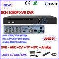 AHD-H CCTV DVR 8CH H.264 registrador de la cámara ip ONVIF P2P AHD cámara de Red D1 DVR AHD-M 960 H Híbrido AHDVR 1080 P cctv grabadora