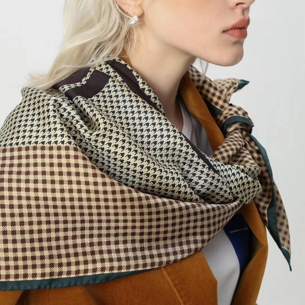 High Quality 100% Silk Scarf Shawl Hijab Head Scarves For Women Ladies Fashion Foulard 35