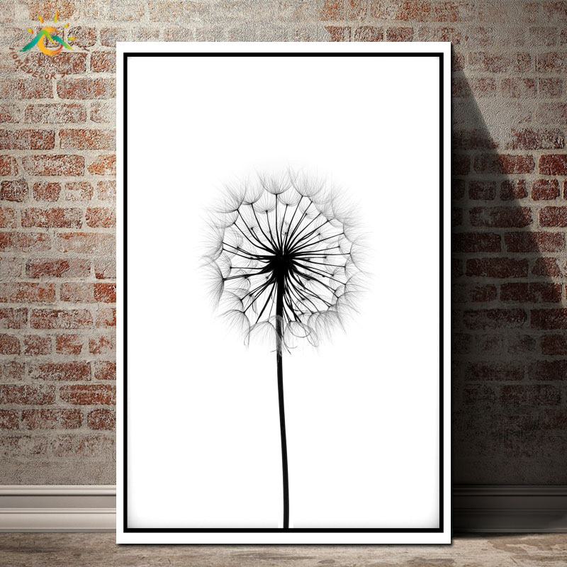 DANDELION Black and White Poster Modern Canvas Art Prints Poster Wall Painting Home Decoration Wall Art Pictures for Bedroom