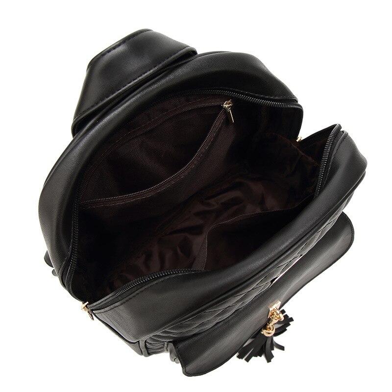 ZOQW 2018 Korean Black PU Leather Backpack Female Fashion Women Backpacks  For Teenage Girls School Bag 3 Pcs Set mochilas WYQ545-in Backpacks from  Luggage ... 44ee5b416e