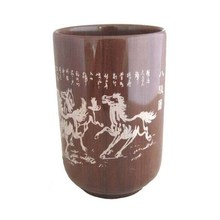 Eight horses carved Authentic Natural Muyu Stone Tea Cup& Wooden Fish Stone Filter Energy Health Care Cup