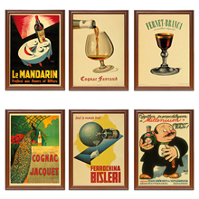 Vintage 1900s bebidas alcoholicas licor Ads cartel coñac Jacquet clásico lienzo pinturas pegatinas de pared decoración del hogar regalo