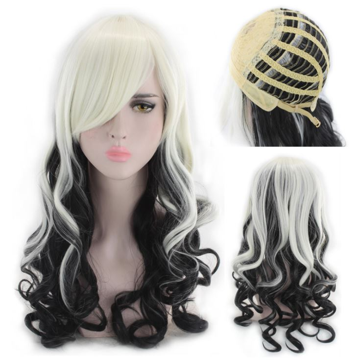 Black and White Long Curly Synthetic Wig For Silicone <font><b>Sex</b></font> <font><b>Doll</b></font> Hair Sythetic Purple Wigs For 130cm To <font><b>170cm</b></font> <font><b>Sex</b></font> <font><b>Dolls</b></font> image