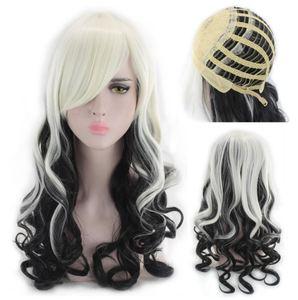 Czarny i białe długie kręcone peruka syntetyczna dla silikon Sex włosy dla lalki syntetyczne fioletowy peruki dla 130 cm do 170 cm seks lalki