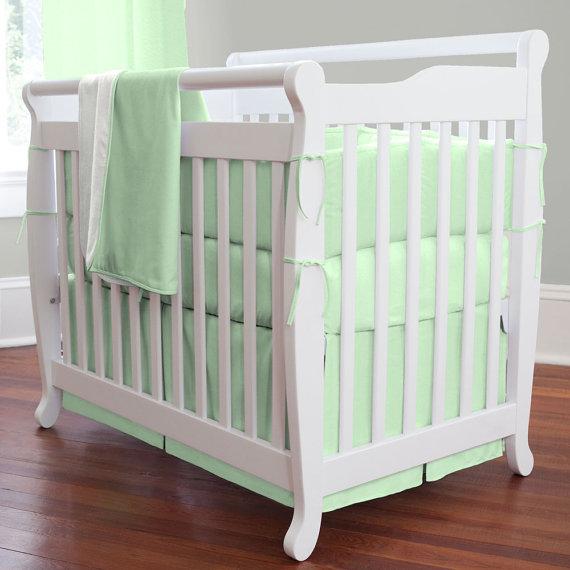 Mint Green 7 Pieces Set Crib Bedding Baby Sweet Chevron Nursery Per Quilt Ed Sheet 100 Cotton