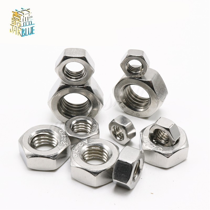 100pcs/lot Metric thread DIN934 M1.6 M2 M2.5 M3 M4 M5 M6 M8 M10 M12 M14 M16 304 Stainless Steel Hex Nuts m1 m1 2 m1 6 m2 m2 5 m3 m4 m5 m6 m8 m10 m12 m14 m16 m18 m20 hex nut micro small nuts stainless steel din934